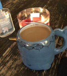 coffee, candle, hand sanitizer
